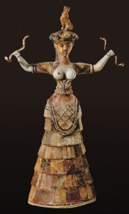 Faience statuette of a Snake Goddess, unearthed in the palace at Knossos, Crete, 1600 B.C. from: https://www.oneonta.edu/faculty/farberas/arth/Images/ARTH209images/minoan/snake_goddess.jpg