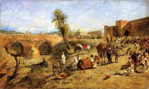 Weeks_Edwin_Lord_Arrival_of_a_Caravan_Outside_The_City_of_Morocco